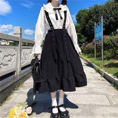 Clotizen - Long-Sleeve Tie-Neck Frill Trim Blouse / Suspender A-Line Midi Skirt