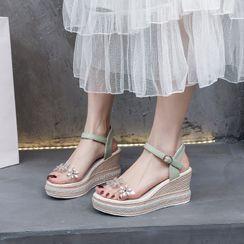Sleeko - Flower Platform Wedge Sandals