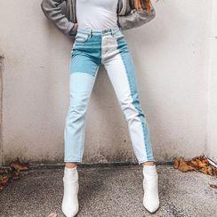 BrickBlack - 拼布窄身牛仔裤