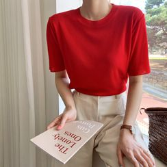 Envy Look - Round-Neck Short-Sleeve Knit Top