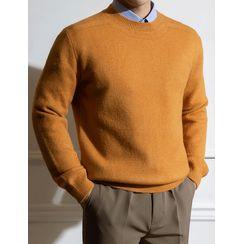 STYLEMAN - Round-Neck Wool Blend Knit Top