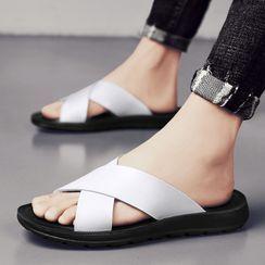BELLOCK - Faux Leather Cross Strap Slide Sandals