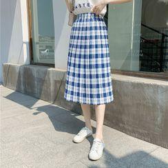 Donnae - Plaid Midi Pleated Skirt