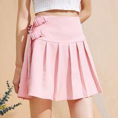 Pandaramma - High Waist Pleated Mini A-Line Skirt