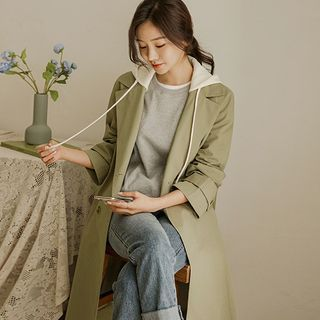 JUSTONE - Contrast-Hooded Long Trench Coat