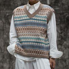 GILI(ギリ) - Patterned Sweater Vest