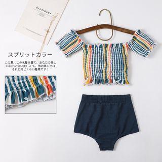 SemiSweet - Set: Short-Sleeve Striped Swim Top + Bottom