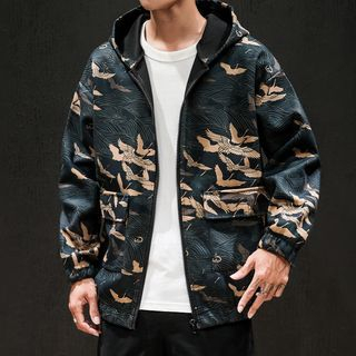Granada - Crane Print Hooded Zip Jacket