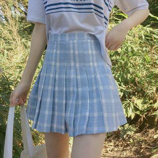 Sisyphi(シシピ) - Plaid Pleated Mini Skirt