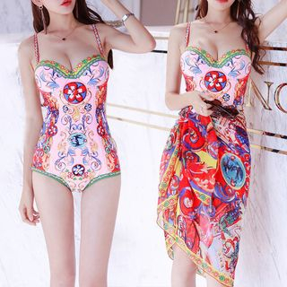 Pagon - Set: Printed Swimsuit + Cover Up