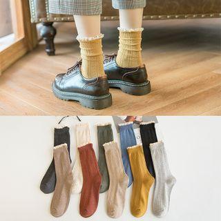 Furana - Ruffled Ribbed Socks / Set