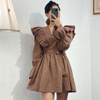 Coris - Long-Sleeve Ruffle Mini A-Line Dress