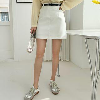 Envy Look - Plain Mini Skirt with Belt