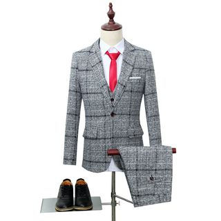 Sheck(シェック) - Suit Set: Plaid Blazer + Vest + Dress Pants