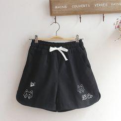 akigogo - 印花寬腿運動短褲