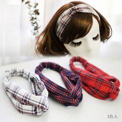 Rosemarie - Plaid Fabric Criss Cross Headband