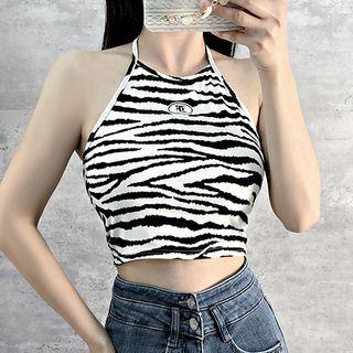 Mon Mon Muffy - Halter-Neck Zebra Print Crop Top