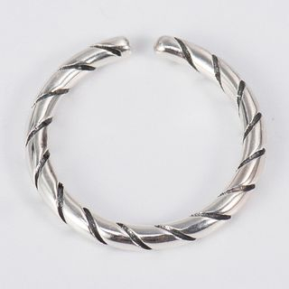 CHOSI - 925 Sterling Silver Ribbed Open Ring