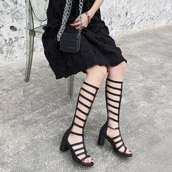 佳美 - 粗跟及膝罗马凉鞋