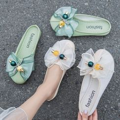 Belbie - Mesh Bow Round-Toe Flat Mules
