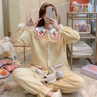 Mamaladies - 孕婦家居服套裝: 格子喇叭袖上衣 + 家居褲