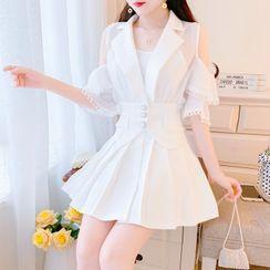 Petit Lace - Set: Cutaway-Shoulder Blazer + Pleated Skirt