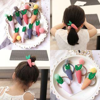 Sweet la Vie - Kids Plaid Fabric Carrot Hair Clip / Hair Tie