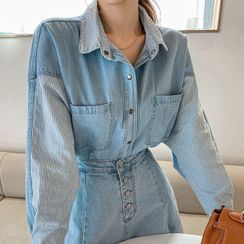 DABAGIRL(ダバガール) - Dip-Back Stripe Denim Shirt