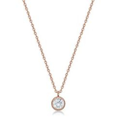 Kenny & co. - 14K Rose Gold Plated Steel Necklace with Crystal Pendant