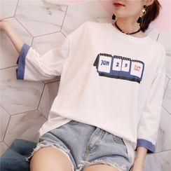 Elbelier(エルベリア) - 3/4-Sleeve Calendar Print T-Shirt