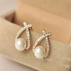 Ignar - Rhinestone Faux Pearl Earring