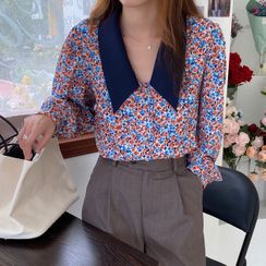 JStyle - Puff-Sleeve Floral Shirt