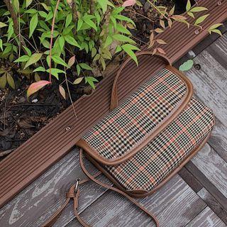 MERONGSHOP - Pleather-Trim Plaid Flap Shoulder Bag