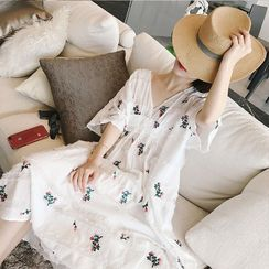 Chata - Set: Maternity Elbow-Sleeve V-Neck Floral Print Midi A-Line Dress + Slipdress