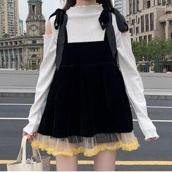HL哈嘍妹妹 - 長袖鏤空肩T裇 / 網紗拼接迷你背帶連衣裙