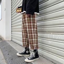 百高 - 格子九分直筒褲