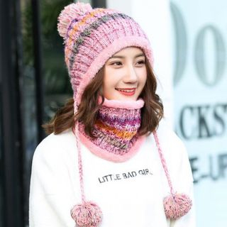 FROME - Melange Pompom Knit Beanie with Neck Scarf