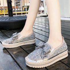 Weiya - Platform Sequined Slip Ons