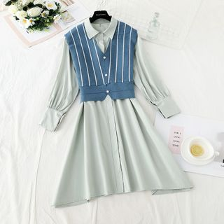 NINETTE - 套装: 迷你A字衬衫裙 + 条纹针织马甲