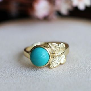 Kanzashi - Turquoise 925 Sterling Silver Butterfly Ring