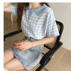 Sisyphi - Plaid Short-Sleeve Knit Polo Shirt