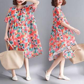 Sophie's World - Short-Sleeve Printed A-Line Midi Dress