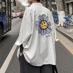 Lazi Boi - Elbow-Sleeve Print Shirt