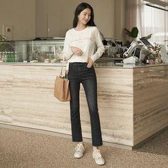 CLICK - Distressed Straight-Leg Jeans