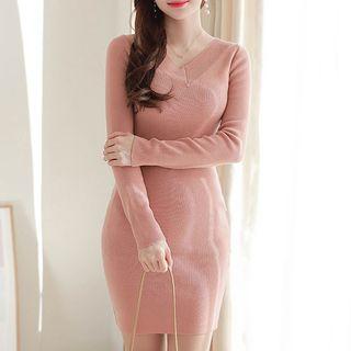 MyFiona - V-Neck Knit Bodycon Dress