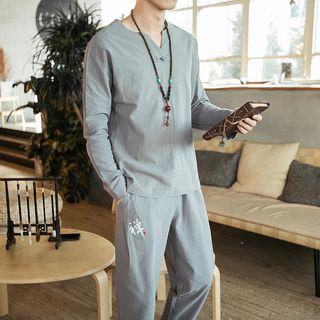 YIKES(ヤイクス) - Set: Chinese Style Long-Sleeve Top + Pants