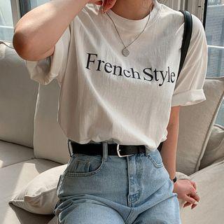 MERONGSHOP - Letter Loose-Fit Cotton T-Shirt