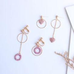 Joodii - Non-matching Rhinestone Hoop / Heart Dangle Earring
