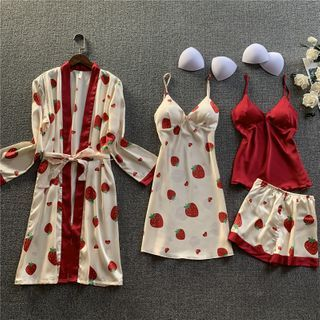 Almilo - Pajama Set: Strawberry Print Robe + Sleep Dress + Camisole + Shorts