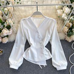 Lucuna - V领系带不规则泡泡袖上衣